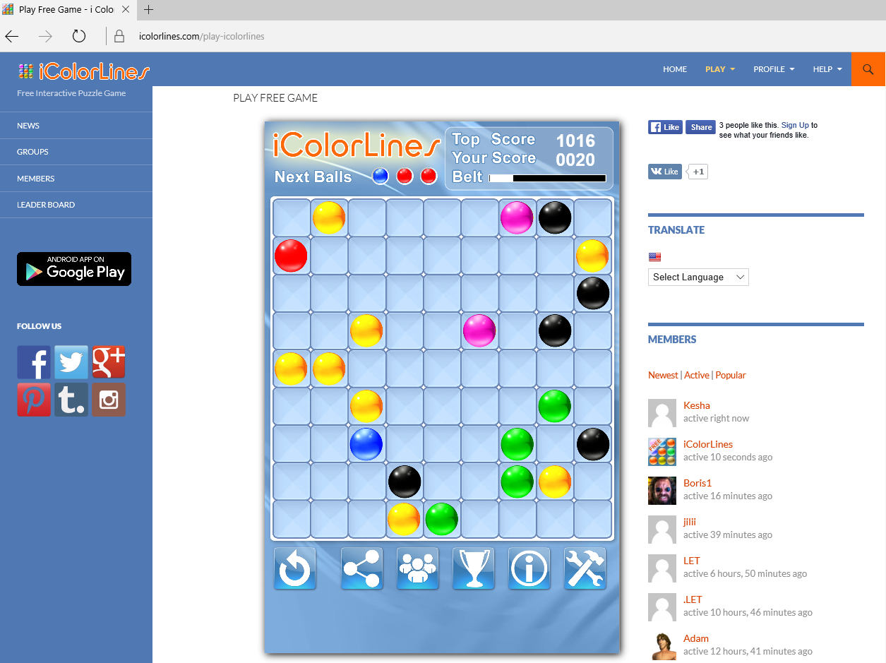 Color Lines game online - i Color Lines Puzzle Game