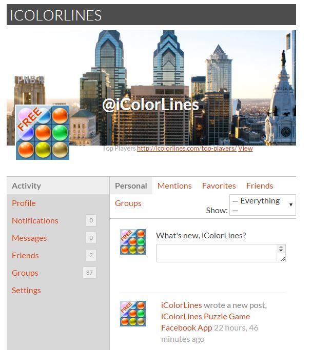 icolorlines puzzle game player profile
