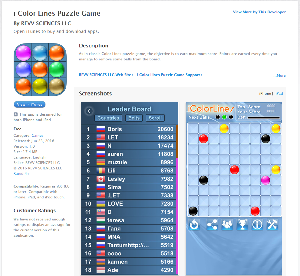 apple itunes iPhone app i color lines puzzle game