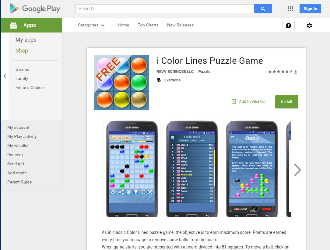 free download color lines puzzle game google play