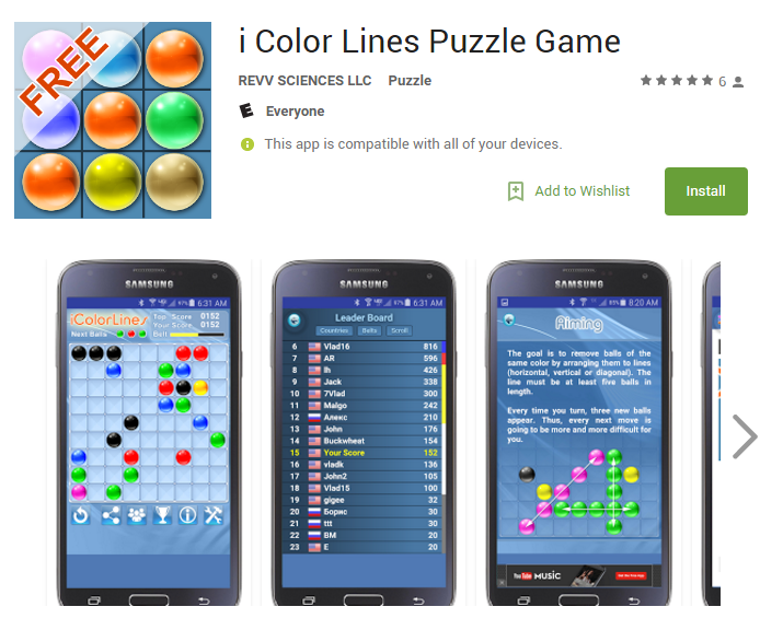 android app i color lines puzzle game version 18 new