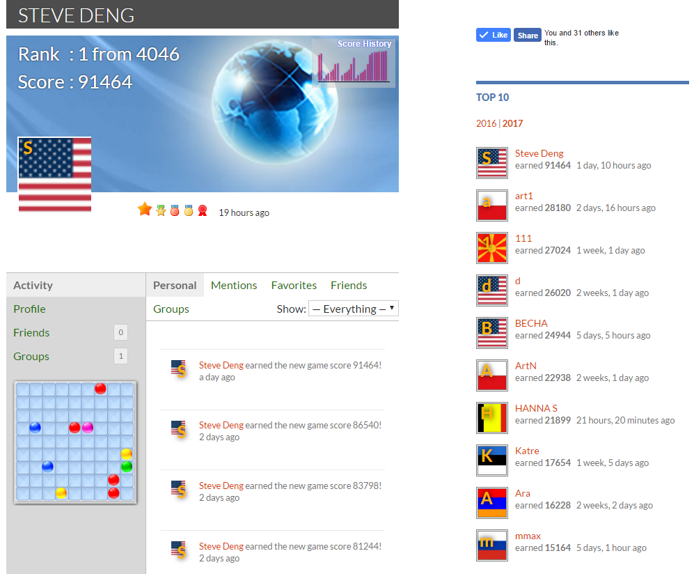 Steve Deng from the United States earned 91,464 points and moved to the top of i Color Lines Puzzle Game leader board.