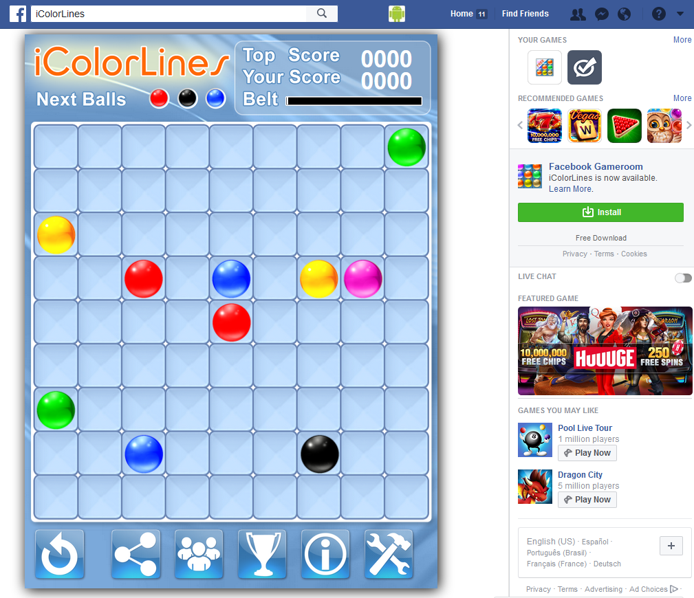 Facebook I Color Lines Puzzle Game