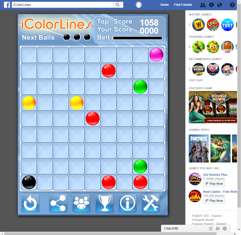 i Color Lines Puzzle Game on Facebook