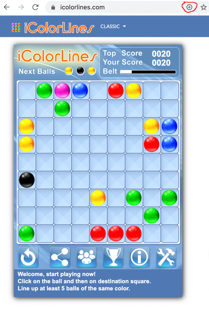 Add iColorLines Puzzle Game to desktop on Windows and MAC